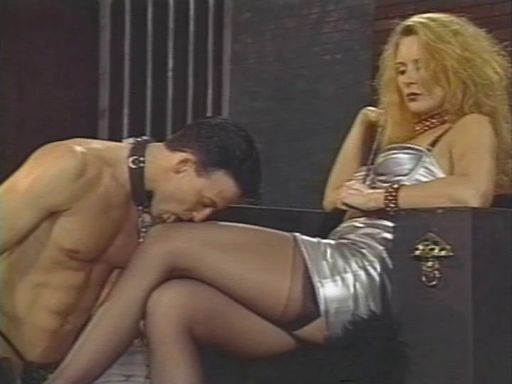 This slave is given the order to lick his mistress' feet then given a butt lashing.