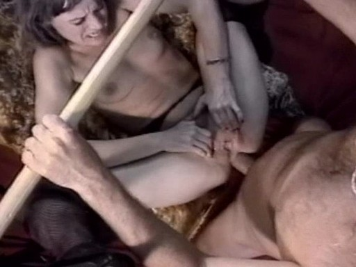 Check out the slut suspended from ther ceiling in a fuck chair. She is totally at the mercy of the cock.