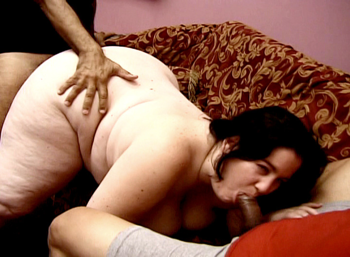 This BBW isn't satisfied by her skinny white husband's cock.  a big girl like her needs some big black cock to really satisfy her insatiable appetite for fucking and sucking.  A BBW like her could surely gobble down at least 2 at a time!