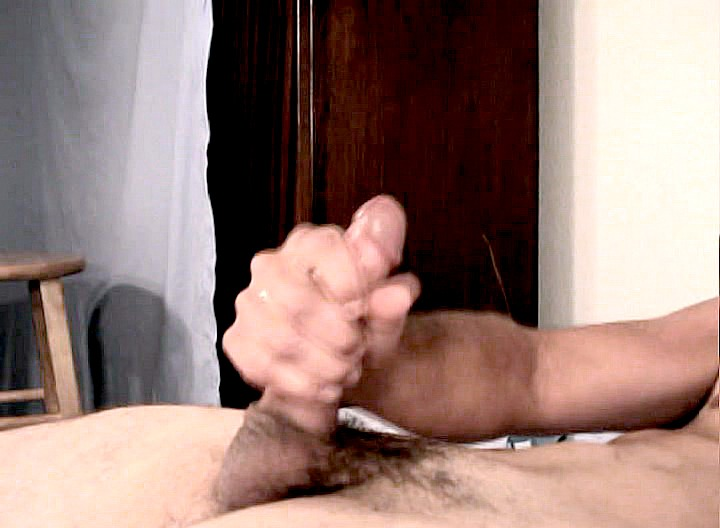 This cute fit stud really enjoys playing with his nice stiff cock! Watch him having lots of fun stroking it really good! You just can't wait to see those nice ropes of jizz comming out of this nice cut rod!