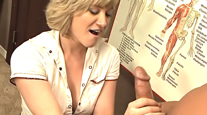 A blond student gives a handjo...
