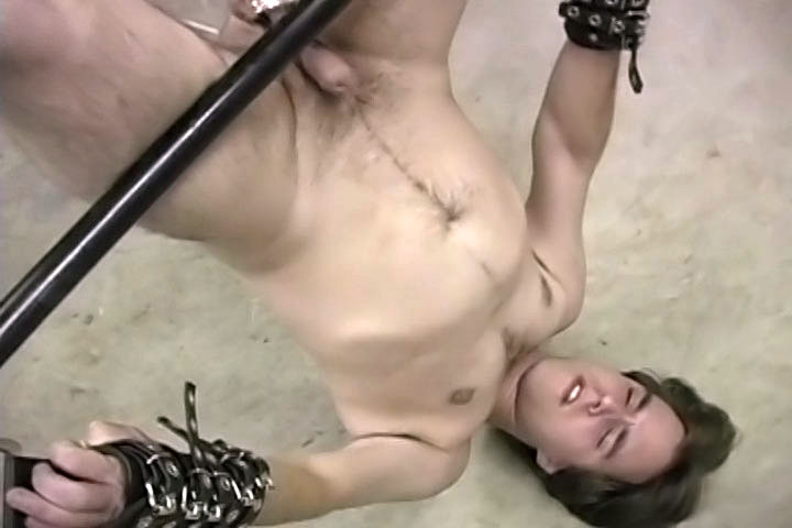 This hot twink gets tied up and his balls are stretched while his friend is tied up and getting a nice handjob from an unknown guy!