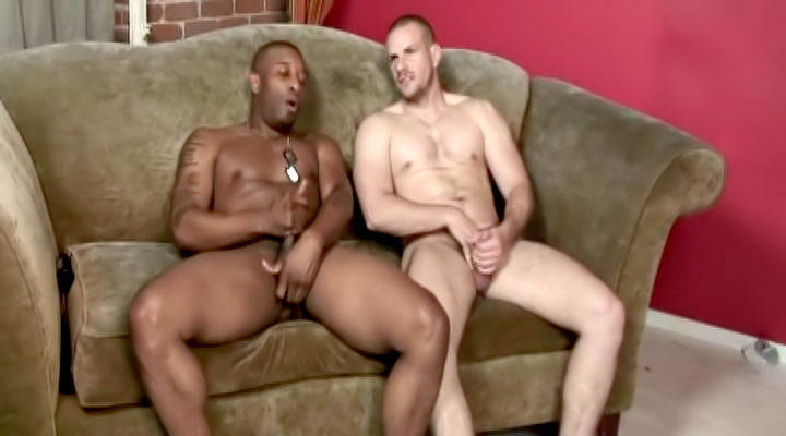 Two hot muscular studs were each craving a cock up the ass. The white one always wanted a thick cock, so we gave him this monster black dick to play with!