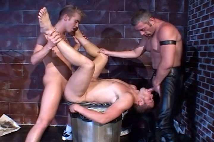 Lots of cock sucking and anal licking from these hardcore jocks! Come watch them play dirty with each other in their leather pants.