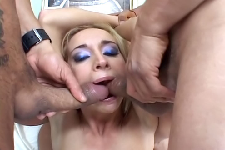 Check out this blonde whore in a hardcore scene with two cocks! Split her legs open and drill her to the couch, give her everything she's ever wanted in a threesome!