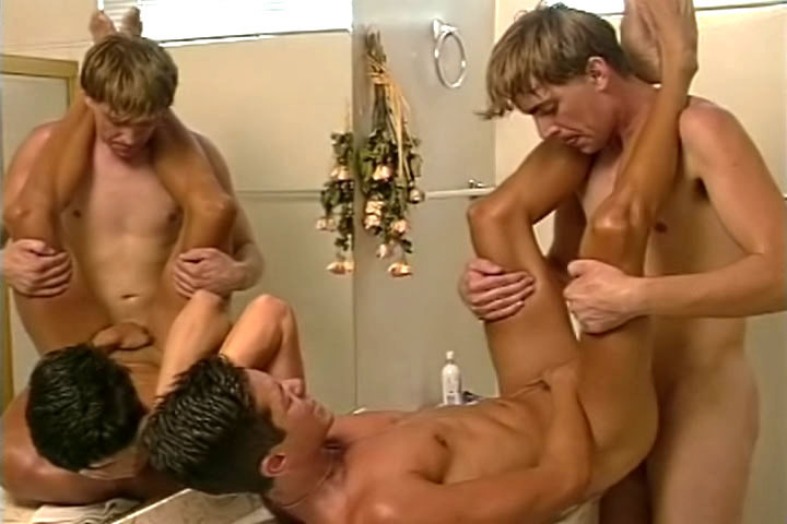Missionary sex in the bathroom, after Michael has been caught masturbating all-alone!