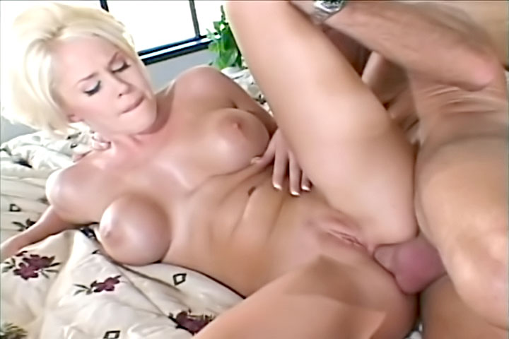Sexy blonde babe with big jugs gives a nice blowjob like a goddess and she gets all of her holes packed until her pretty face gets creamed.