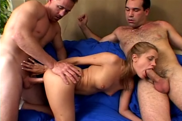 Blonde enjoys a double penetration threesome with two horny cocks !