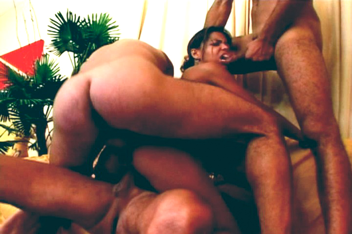 Tiny little Latin gets her ass fucked hard by 3 guys