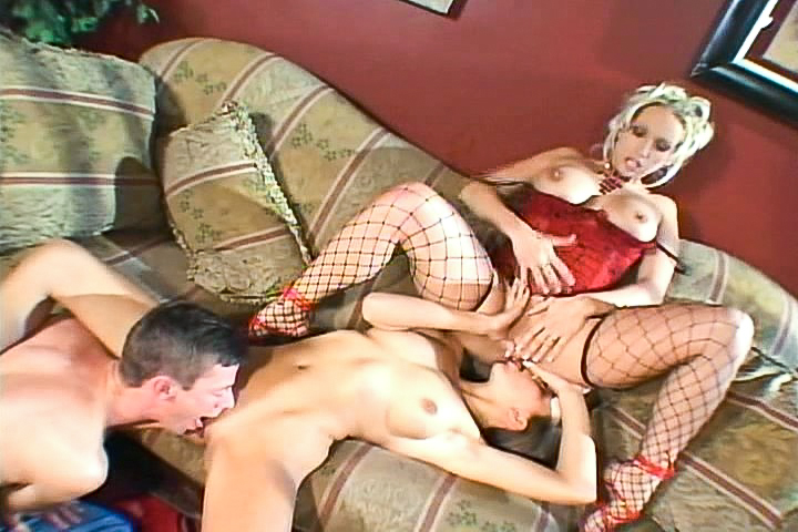 Threesome with blonde milf and...