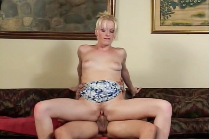 Whorish blonde interacts with a huge dick and engages in different positions in a living room. This slut teaches how the art of fucking on a couch.