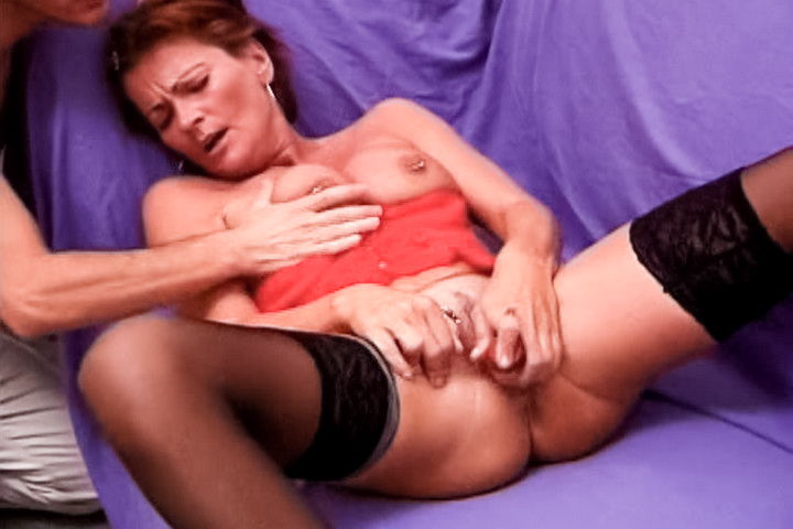 This horny redhead is a slut, with her nipples and pussy pierced you can tell that she loves doing the nasty. That is revealed even more when she takes two cocks, she gets her thigh asshole drilled by two studs. It is never too late to fuck for a slut like her.
