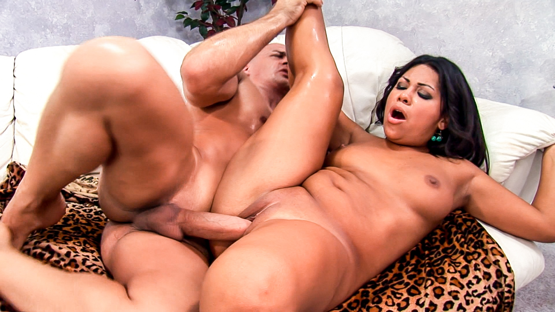 hot latina chick rides a huge dick, and screams until he blows his load right in her face.