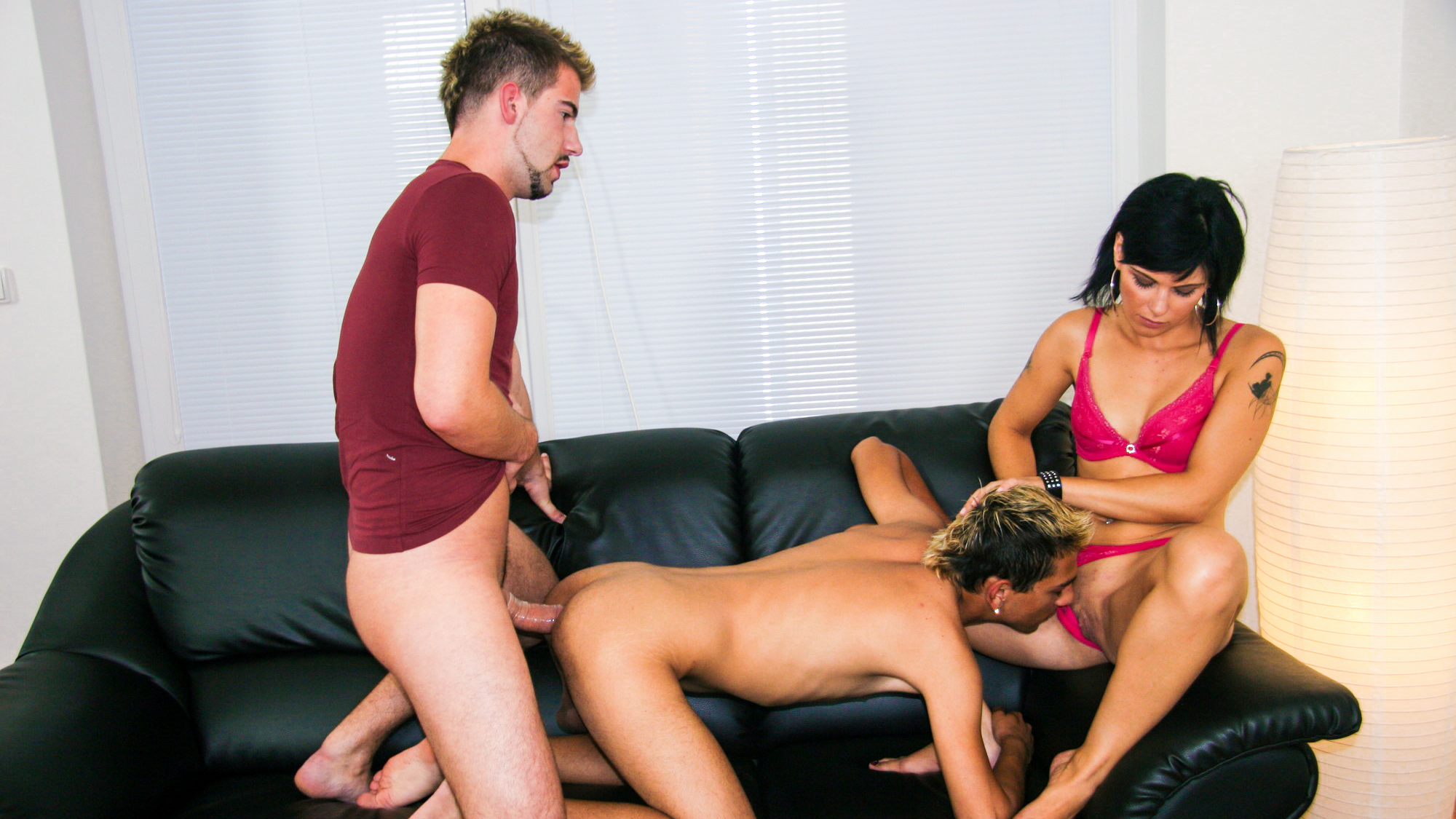 three horny hotties whip out the cocks and expose their pussies. there's MMF blowjobs, eating out, anal fucking and pussy ramming fucking action. ending with a tits cumshot and a hot open mouth facial